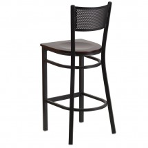 Flash Furniture XU-DG-60116-GRD-BAR-WALW-GG HERCULES Black Grid Back Metal Restaurant Barstool - Walnut Wood Seat addl-2