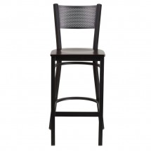 Flash Furniture XU-DG-60116-GRD-BAR-WALW-GG HERCULES Black Grid Back Metal Restaurant Barstool - Walnut Wood Seat addl-3