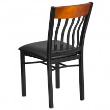 Flash Furniture XU-DG-60618-CHY-BLKV-GG Eclipse Vertical Back Black Metal and Cherry Wood Restaurant Chair with Black Vinyl Seat addl-2