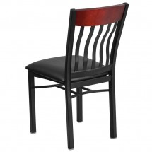 Flash Furniture XU-DG-60618-MAH-BLKV-GG Eclipse Vertical Back Black Metal and Mahogany Wood Restaurant Chair with Black Vinyl Seat addl-2