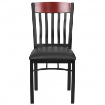 Flash Furniture XU-DG-60618-MAH-BLKV-GG Eclipse Vertical Back Black Metal and Mahogany Wood Restaurant Chair with Black Vinyl Seat addl-3