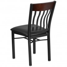 Flash Furniture XU-DG-60618-WAL-BLKV-GG Eclipse Vertical Back Black Metal and Walnut Wood Restaurant Chair with Black Vinyl Seat addl-2