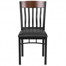 Flash Furniture XU-DG-60618-WAL-BLKV-GG Eclipse Vertical Back Black Metal and Walnut Wood Restaurant Chair with Black Vinyl Seat addl-3
