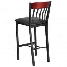 Flash Furniture XU-DG-60618B-MAH-BLKV-GG Eclipse Vertical Back Black Metal and Mahogany Wood Restaurant Barstool with Black Vinyl Seat addl-2