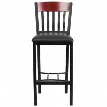 Flash Furniture XU-DG-60618B-MAH-BLKV-GG Eclipse Vertical Back Black Metal and Mahogany Wood Restaurant Barstool with Black Vinyl Seat addl-3