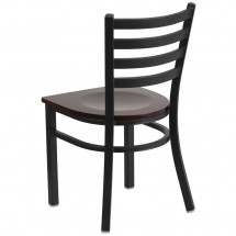 Flash Furniture XU-DG694BLAD-WALW-GG HERCULES Black Ladder Back Metal Restaurant Chair - Walnut Wood Seat addl-2