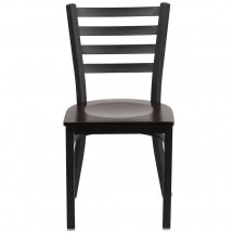 Flash Furniture XU-DG694BLAD-WALW-GG HERCULES Black Ladder Back Metal Restaurant Chair - Walnut Wood Seat addl-3