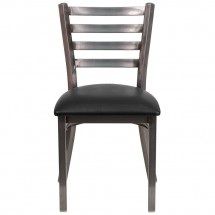 Flash Furniture XU-DG694BLAD-CLR-BLKV-GG HERCULES Clear Coated Ladder Back Metal Restaurant Chair - Black Vinyl Seat addl-3