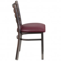 Flash Furniture XU-DG694BLAD-CLR-BURV-GG HERCULES Clear Coated Ladder Back Metal Restaurant Chair - Burgundy Vinyl Seat addl-1