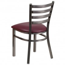 Flash Furniture XU-DG694BLAD-CLR-BURV-GG HERCULES Clear Coated Ladder Back Metal Restaurant Chair - Burgundy Vinyl Seat addl-2