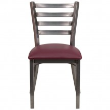 Flash Furniture XU-DG694BLAD-CLR-BURV-GG HERCULES Clear Coated Ladder Back Metal Restaurant Chair - Burgundy Vinyl Seat addl-3