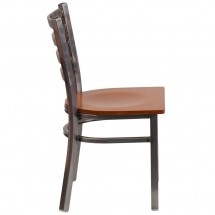 Flash Furniture XU-DG694BLAD-CLR-CHYW-GG HERCULES Clear Coated Ladder Back Metal Restaurant Chair - Cherry Wood Seat addl-1