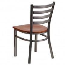 Flash Furniture XU-DG694BLAD-CLR-CHYW-GG HERCULES Clear Coated Ladder Back Metal Restaurant Chair - Cherry Wood Seat addl-2