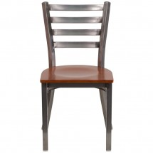 Flash Furniture XU-DG694BLAD-CLR-CHYW-GG HERCULES Clear Coated Ladder Back Metal Restaurant Chair - Cherry Wood Seat addl-3