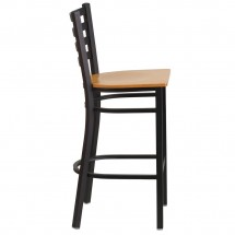 Flash Furniture XU-DG697BLAD-BAR-NATW-GG HERCULES Black Ladder Back Metal Restaurant Barstool - Natural Wood Seat addl-1