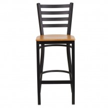 Flash Furniture XU-DG697BLAD-BAR-NATW-GG HERCULES Black Ladder Back Metal Restaurant Barstool - Natural Wood Seat addl-3