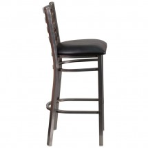 Flash Furniture XU-DG697BLAD-CLR-BAR-BLKV-GG HERCULES Clear Coated Ladder Back Metal Restaurant Barstool - Black Vinyl Seat addl-1