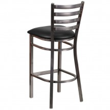 Flash Furniture XU-DG697BLAD-CLR-BAR-BLKV-GG HERCULES Clear Coated Ladder Back Metal Restaurant Barstool - Black Vinyl Seat addl-2