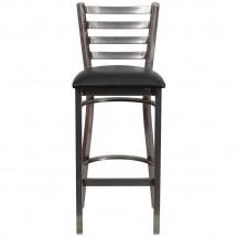 Flash Furniture XU-DG697BLAD-CLR-BAR-BLKV-GG HERCULES Clear Coated Ladder Back Metal Restaurant Barstool - Black Vinyl Seat addl-3