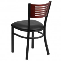 Flash Furniture XU-DG-6G5B-MAH-BLKV-GG HERCULES Black Slat Back Metal Restaurant Chair - Mahogany Wood Back, Black Vinyl Seat addl-2