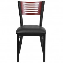 Flash Furniture XU-DG-6G5B-MAH-BLKV-GG HERCULES Black Slat Back Metal Restaurant Chair - Mahogany Wood Back, Black Vinyl Seat addl-3