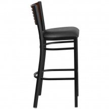 Flash Furniture XU-DG-6H1B-WAL-BAR-BLKV-GG HERCULES Black Slat Back Metal Restaurant Barstool - Walnut Wood Back, Black Vinyl Seat addl-1