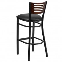 Flash Furniture XU-DG-6H1B-WAL-BAR-BLKV-GG HERCULES Black Slat Back Metal Restaurant Barstool - Walnut Wood Back, Black Vinyl Seat addl-2