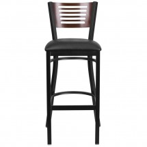 Flash Furniture XU-DG-6H1B-WAL-BAR-BLKV-GG HERCULES Black Slat Back Metal Restaurant Barstool - Walnut Wood Back, Black Vinyl Seat addl-3
