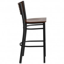 Flash Furniture XU-DG-6H1B-WAL-BAR-MTL-GG HERCULES Black Slat Back Metal Restaurant Barstool - Walnut Wood Back and Seat addl-1