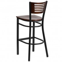 Flash Furniture XU-DG-6H1B-WAL-BAR-MTL-GG HERCULES Black Slat Back Metal Restaurant Barstool - Walnut Wood Back and Seat addl-2