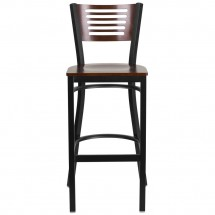 Flash Furniture XU-DG-6H1B-WAL-BAR-MTL-GG HERCULES Black Slat Back Metal Restaurant Barstool - Walnut Wood Back and Seat addl-3