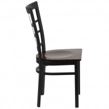Flash Furniture XU-DG6Q3BWIN-WALW-GG HERCULES Black Window Back Metal Restaurant Chair - Walnut Wood Seat addl-1