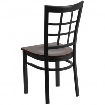 Flash Furniture XU-DG6Q3BWIN-WALW-GG HERCULES Black Window Back Metal Restaurant Chair - Walnut Wood Seat addl-2