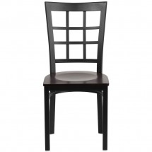 Flash Furniture XU-DG6Q3BWIN-WALW-GG HERCULES Black Window Back Metal Restaurant Chair - Walnut Wood Seat addl-3
