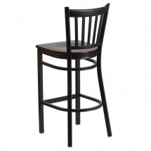 Flash Furniture XU-DG-6R6B-VRT-BAR-WALW-GG HERCULES Black Vertical Back Metal Restaurant Barstool - Walnut Wood Seat addl-2
