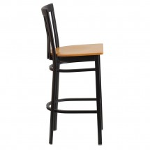 Flash Furniture XU-DG6R8BSCH-BAR-NATW-GG HERCULES Black School House Back Metal Restaurant Barstool - Natural Wood Seat addl-1