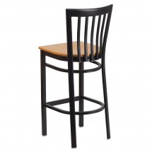 Flash Furniture XU-DG6R8BSCH-BAR-NATW-GG HERCULES Black School House Back Metal Restaurant Barstool - Natural Wood Seat addl-2