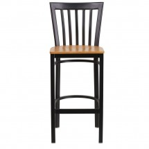 Flash Furniture XU-DG6R8BSCH-BAR-NATW-GG HERCULES Black School House Back Metal Restaurant Barstool - Natural Wood Seat addl-3
