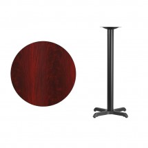 Flash Furniture XU-RD-30-MAHTB-T2222B-GG 30 Round Mahogany Laminate Table Top with 22 x 22 Bar Height Table Base addl-1
