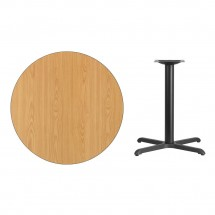 Flash Furniture XU-RD-36-NATTB-T3030-GG Round Natural Laminate 36 Table Top with 30 x 30 Table Height Base addl-1