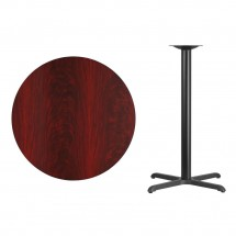 Flash Furniture XU-RD-36-MAHTB-T3030B-GG Round Mahogany Laminate 36 Table Top with 30 x 30 Bar Height Table Base addl-1