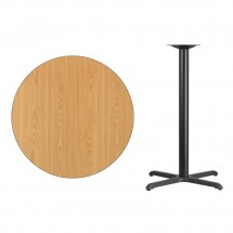 Flash Furniture XU-RD-36-NATTB-T3030B-GG Round Natural Laminate 36 Table Top with 30 x 30 Bar Height Table Base addl-1
