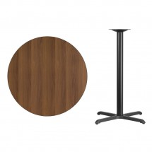 Flash Furniture XU-RD-36-WALTB-T3030B-GG Round Walnut Laminate 36 Table Top with 30 x 30 Bar Height Table Base addl-1