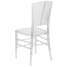 Flash Furniture  BH-H006-CRYSTAL-GG Elegance Crystal Ice Stacking Chair with Vertical Line Design addl-2