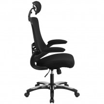 Flash Furniture BL-X-5H-GG High Back Black Mesh Ergonomic Executive Swivel Office Chair with Chrome Plated Nylon Base and Flip-Up Arms addl-1