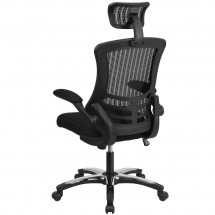 Flash Furniture BL-X-5H-GG High Back Black Mesh Ergonomic Executive Swivel Office Chair with Chrome Plated Nylon Base and Flip-Up Arms addl-2