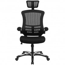 Flash Furniture BL-X-5H-GG High Back Black Mesh Ergonomic Executive Swivel Office Chair with Chrome Plated Nylon Base and Flip-Up Arms addl-3