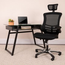 Flash Furniture BL-X-5H-GG High Back Black Mesh Ergonomic Executive Swivel Office Chair with Chrome Plated Nylon Base and Flip-Up Arms addl-4