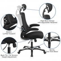 Flash Furniture BL-X-5H-GG High Back Black Mesh Ergonomic Executive Swivel Office Chair with Chrome Plated Nylon Base and Flip-Up Arms addl-5