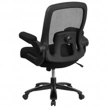 Flash Furniture BL-ZP-8805-BK-GG Mid-Back Black Mesh Swivel Task Chair with Gray Frame and Flip-Up Arms addl-2